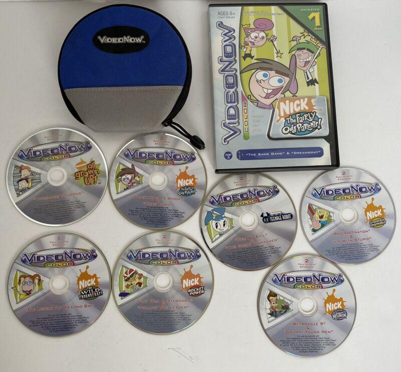 Vtg Lot Of 8 VideoNow Discs & Case -Spongebob, Fairly Odd Parents, Rocket Power