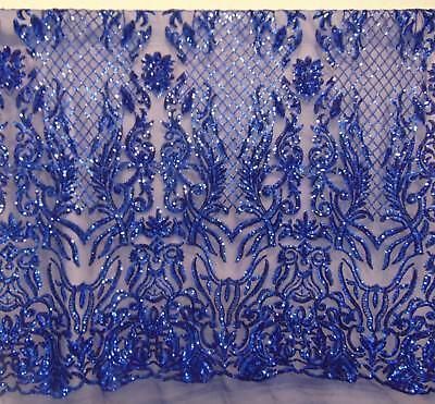 - Karma, Royal Blue, Big Print Victorian Sequin, 4-way Stretch Fabric 55