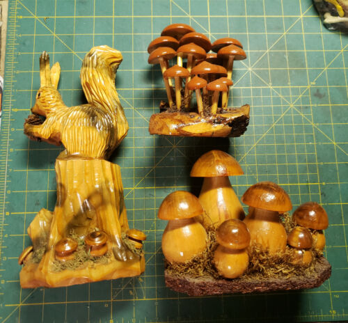 Set of 3 Hand Carved Wooden Mushroom Squirrel Desk/Table Sculptures Fungi Forest