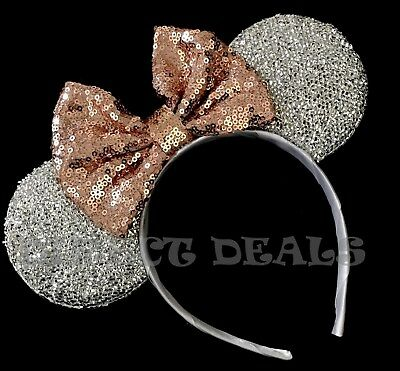 Minnie Mouse Ears Headband Shiny Silver Sparkly Sequin Rose Gold Bow Party - Sequin Minnie Mouse Ears