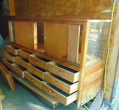 SOLID WOOD AND GLASS DISPLAY -