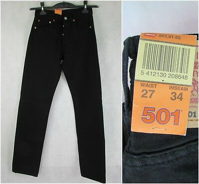 VINTAGE NWT Levis 501 27/34 womens MOM JEANS BUTTON FLY red tab black High Waist