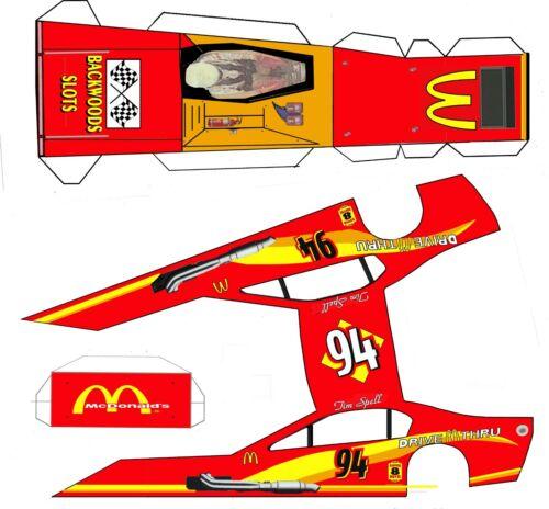 "#94 Tim Spell Mcdonalds  Asphalt Modified Laminated Body Slot Car 4"" 1/24th"