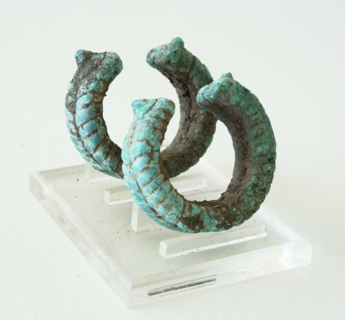 Pair Prehistoric B.C. Excavated Thai Ban Chiang Bronze Bracelets (Mil) M1121