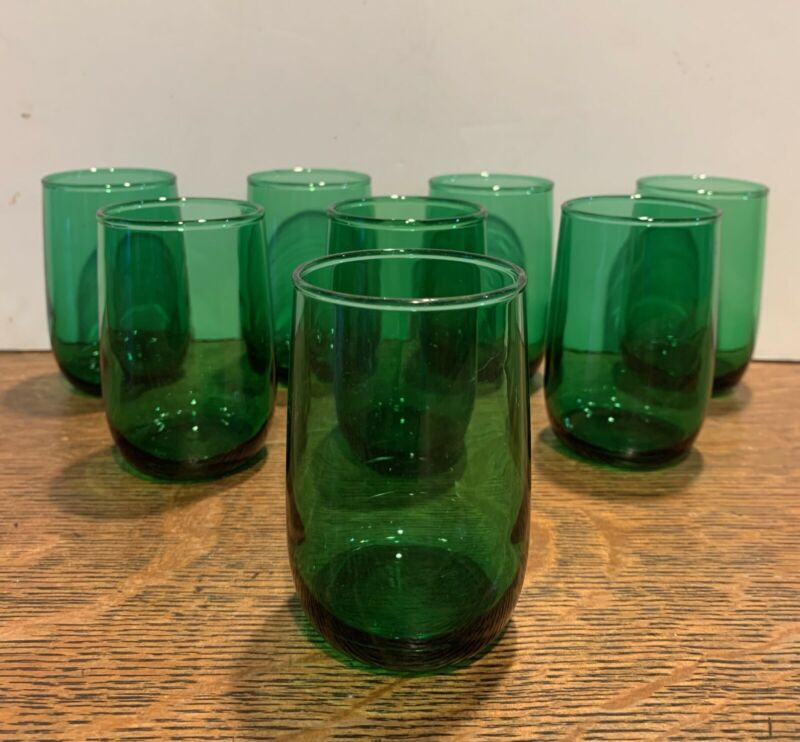"""8 Vintage Anchor Hocking Forest Green Juice Glasses (3 3/8"""" Tall"""")"""