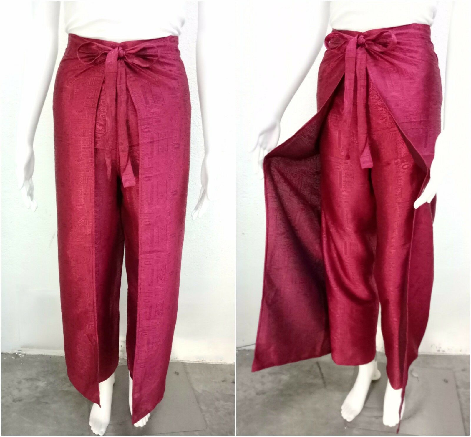 586b01e0e16 Women Fisherman Palazzo Pants Wrap Wide Leg Thai Silk Red Trousers Sarong