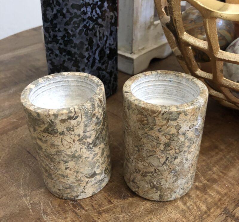 Fossil Stone Tealight holders From Pakistan 1.8lbs