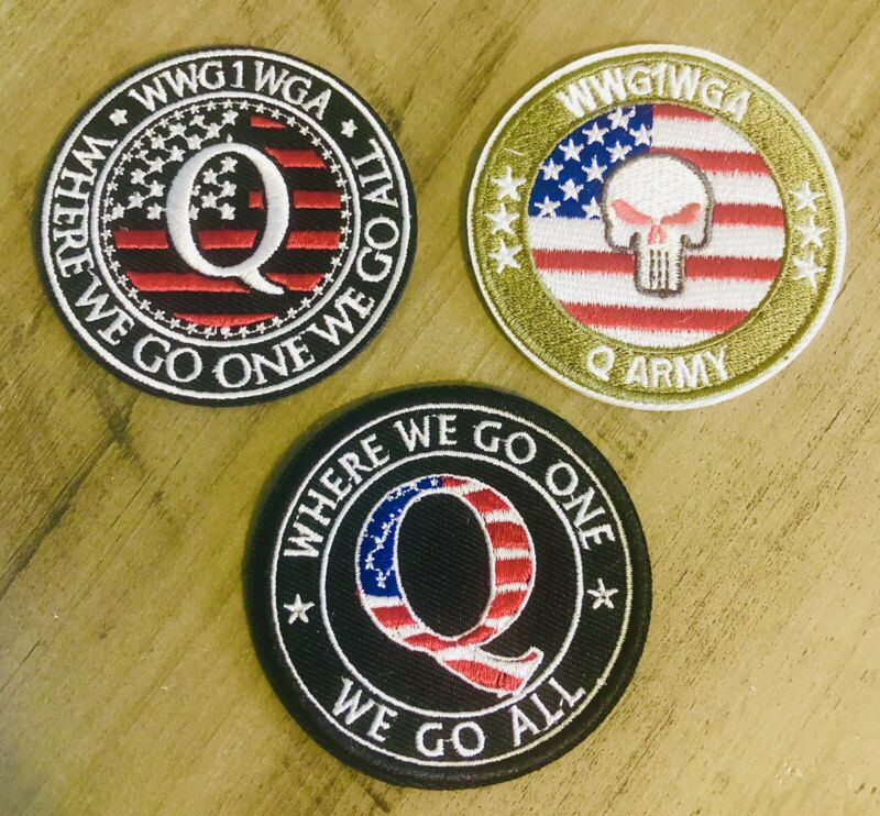 Q ANON WWG1WGA LOT OF (3) Patch Iron Sew On Military Army Qanon Trump Punisher