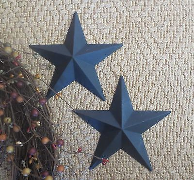 "Set of 2 Country Primitive 6"" Black Barn Stars Rustic Wall Decor Tin Metal"