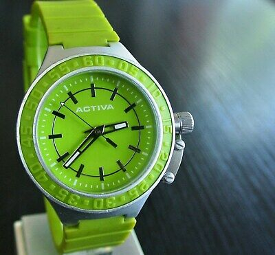 VINTAGE SWISS ACTIVA INVICTA SPORT QUARTZ MEN'S LARGE SILVER GREEN WATCH *COOL*