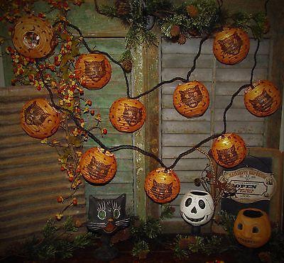 Primitive Vtg Styel 10 Sassy Fraidy Cat Paper Lantern Light String Gift Idea (Halloween Lanterns Ideas)