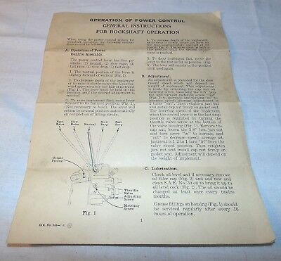 John Deere, Rockshaft Operation Instructions, 362-7- 45, Tractor, Vintage, (T)