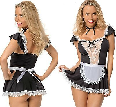 Ladies French Maid Fancy Dress Costume Ladies Outfit Hen Party Naughty Girl 8-14