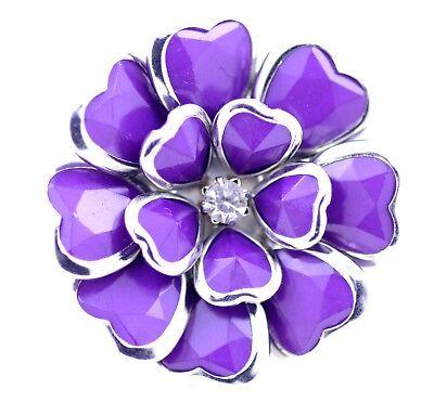 Adjustable purple enamel flower stretch ring with - Enamel Crystal Flower Ring