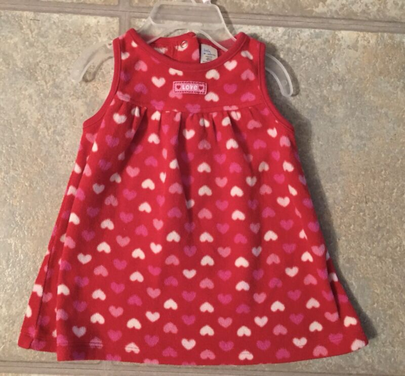 Little Wonders Girl's Size 3-6 Months Red Fleece Jumper With Pink & White Hearts