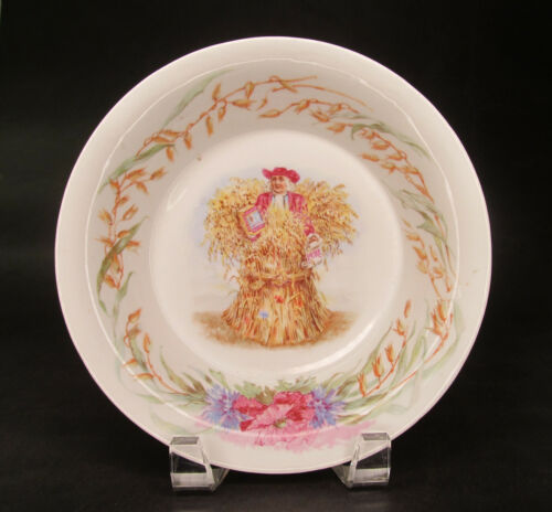 Antique Quaker Oats Advertising Bowl with Wheat & Floral Design