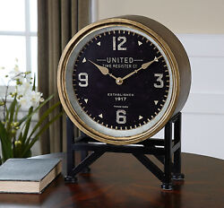 NEW 16 METAL FRAME BRASS BLACK FACE ROUND TABLE DESK CLOCK MODERN VINTAGE