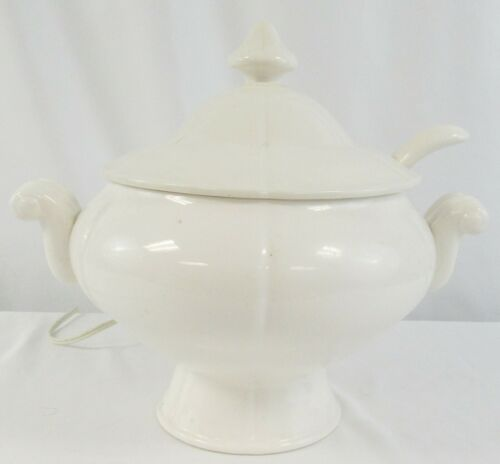 Rare Vintage Royal Sealy Electric White Soup Tureen With Ladle & Lid Swirl Manor