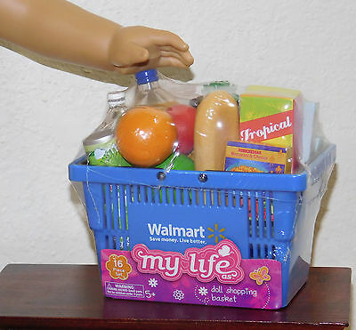 New Grocery Blue Walmart Shopping Basket 15 Foods Fits18 Inch American Girl Doll