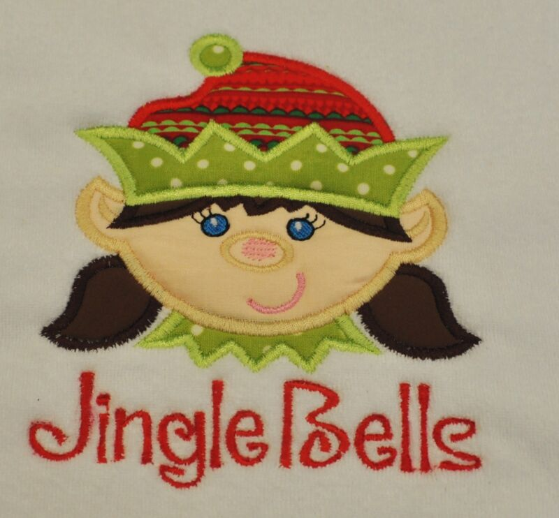 Embroidered & Appliqued Holiday Christmas Girl Elf on a terry baby burp cloth