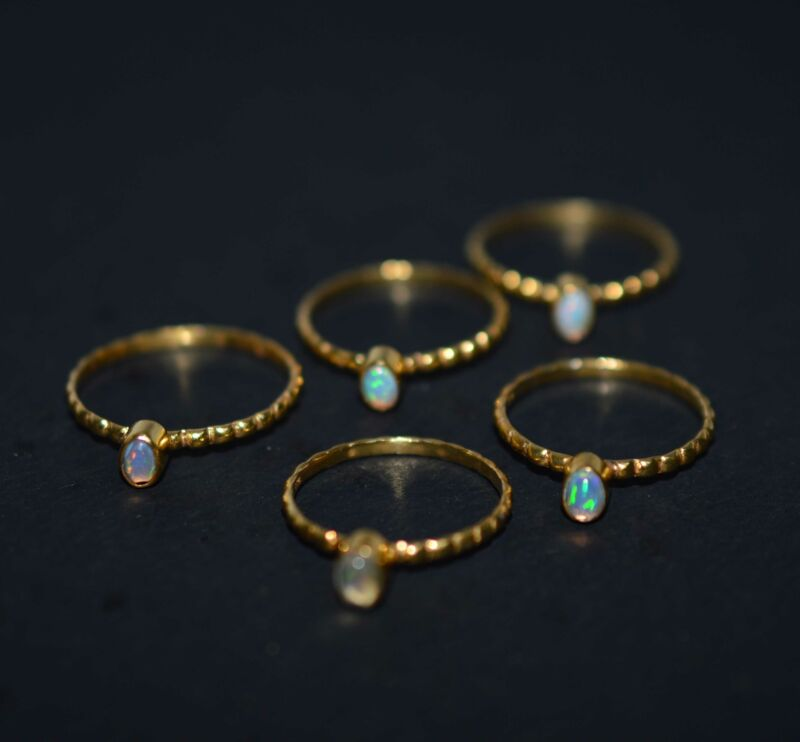 WHOLESALE 5PC 925 STERLING SILVER 24CT GOLD OVERLAY ETHIOPIAN OPAL RING LOT 1 W6
