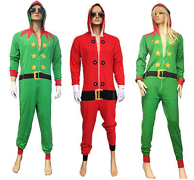 Adults Unisex Novelty 1Onesie Fancy Dress Santa and Elf Costume Christmas S-XL