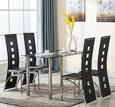5 Piece Dining Table and 4 Set Chairs Glass Black Leather Kitchen Room Furniture