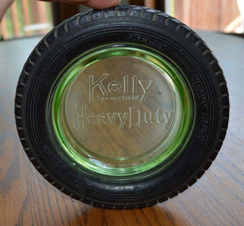 Early green depression glass center Kelly Heavy Duty Tire Ashtray Nice!