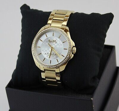 NEW AUTHENTIC COACH TRISTEN GOLD CRYSTALS WOMEN'S 14503137 WATCH