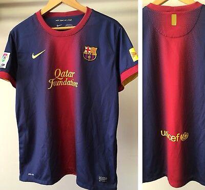 85cac32c2 FC Barcelona Barça 2012 2013 BLANK Soccer Jersey Nike XL FCB LFP 3 Qatar  UNICEF