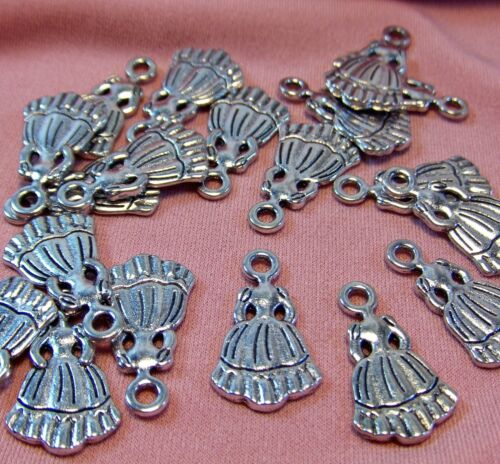 Set of 50 SILVER CHARMS-SOUTHERN BELLE DRESS-FINDINGS-JEWELRY MAKING SUPPLIES
