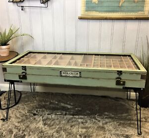 Industrial retro vintage style coffee table storage glass top display