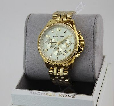 NEW AUTHENTIC MICHAEL KORS PILOT CHRONOGRAPH GOLD CRYSTALS WOMEN'S MK5347 WATCH
