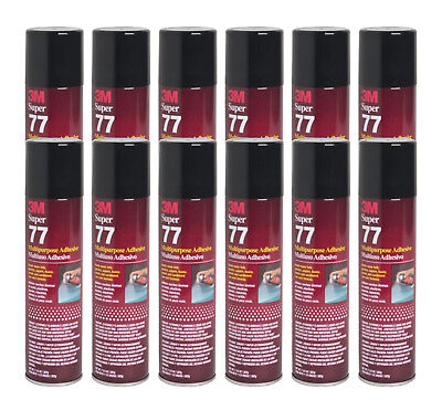 Qty12 3m Super 77 7.3oz Spray Glue For Foil Plastic Paper Foam Metal Fabric