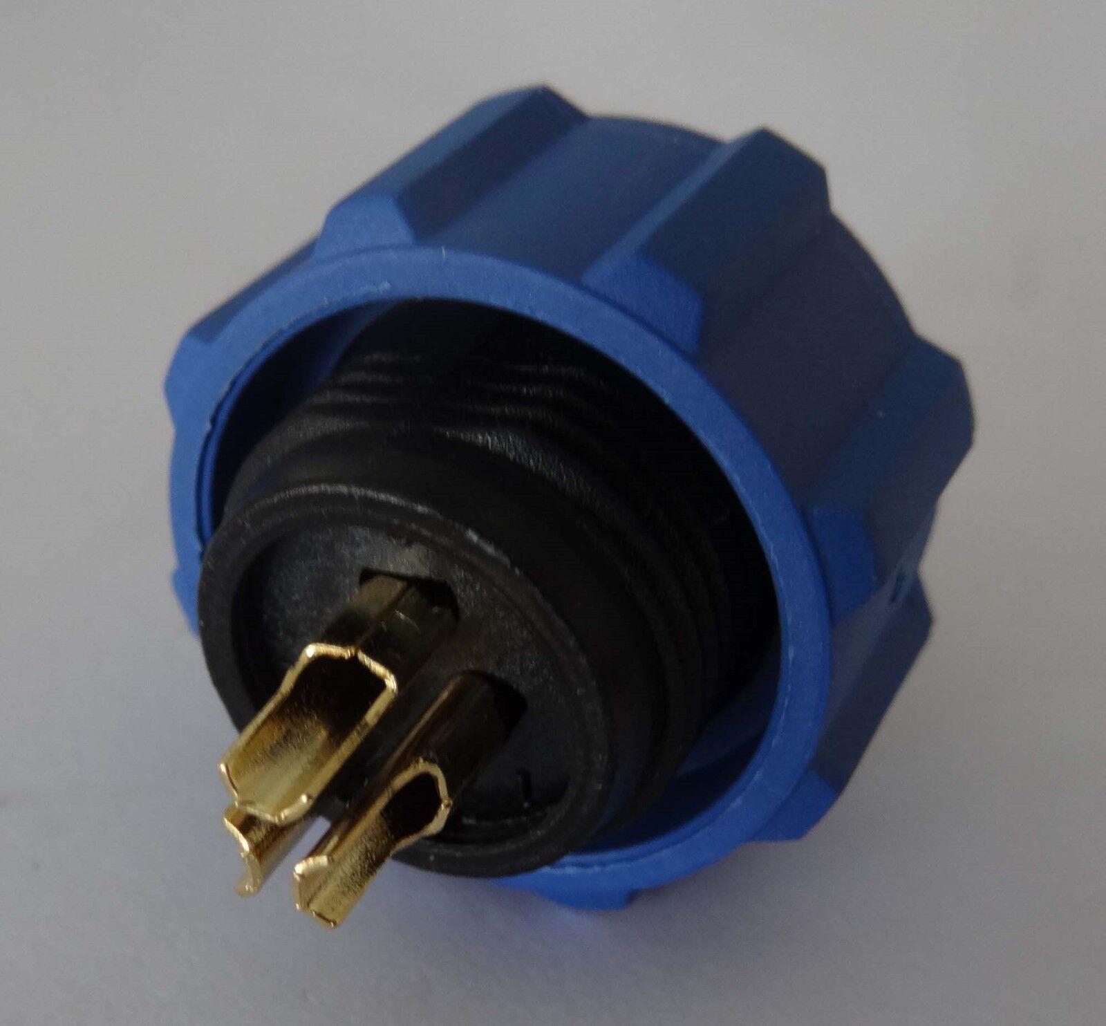 230V 12V IP68 Rundstecker, Buchse, Verbinder Stecker mit Deckel wasserdicht