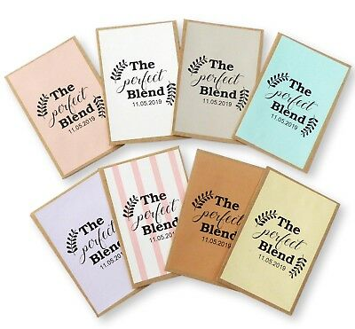 100 X PERSONALIZED PERFECT BLEND TEA COFFEE ENVELOPES FAVOURS WEDDING STICKERS Bridal Blend Coffee Wedding Favors