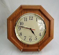 Octagon Wood Wall Clock Oak light wood 14 quartz
