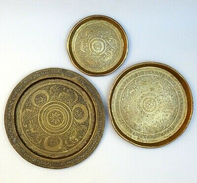 set of two brass plates Vintage solid brass Floral  abstract design 11 cm diameter plates  dishes  trays
