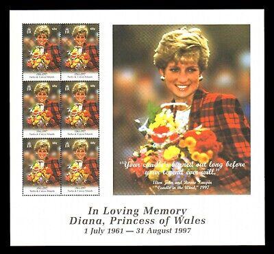 TURKS & CAICOS ISLANDS 1271 MNH Sheetlet of 6 Princess Diana SCV $12