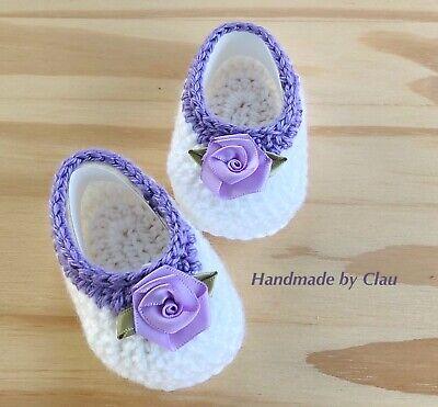 Crochet baby booties- Baby  Shoes Handmade- Girls booties Newborn white purple Crocheted Baby Shoes