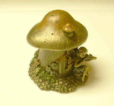 Fairy Mushroom House Trinket Jewelry Box Bronze Home Decor 3' NeW