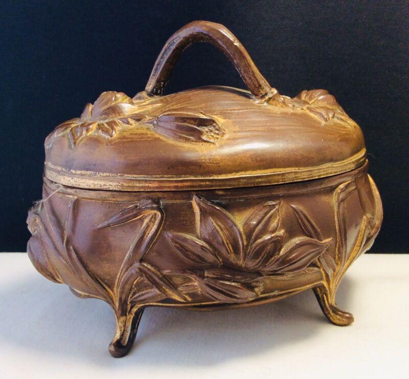 Antique Victorian Art Nouveau Gilt Metal Peonies Casket Trinket Jewelry Box