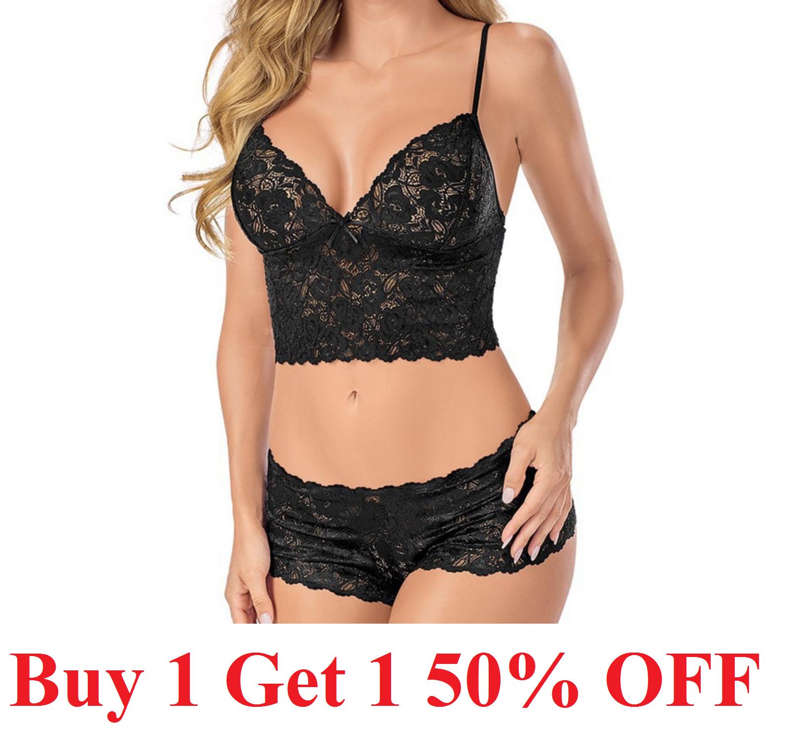 . Women Sexy Lace Lingerie Bralette Bra Set Thong Underwear Nightwear Sleepwear Clothing, Shoes & Accessories