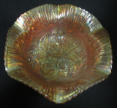 Vintage Imperial Marigold Carnival Glass Large Footed Open Rose Bowl