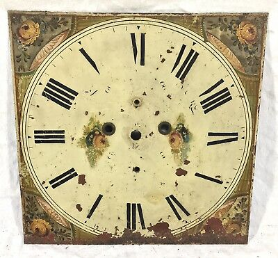 Lovely Square Long Case Grandfather Clock Dial Flowers 14