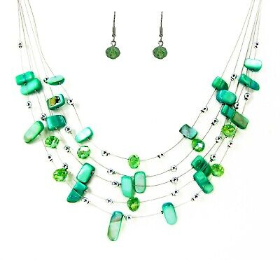 Green Shell and Glass Beaded Layered Necklace and Earring Set - -