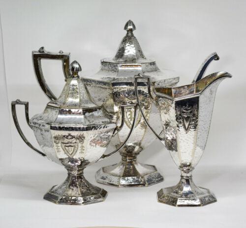 Antique 1847 Rogers Bros. Silver plated art deco tea set -🐘