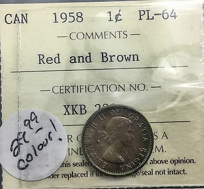 CANADA 1958 PROOFLIKE SMALL CENT ICCS PL 64 STUNNING TONING A WOW TONER