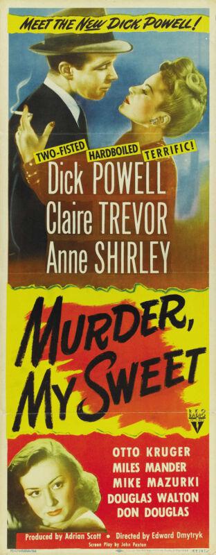 MURDER MY SWEET Movie POSTER 14x36 Insert Dick Powell Claire Trevor Mike Mazurki