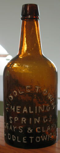 ANTIQUE MINERAL WATER BOTTLE MIDDLETOWN HEALING SPRINGS GRAYS & CLARK VT AMBER